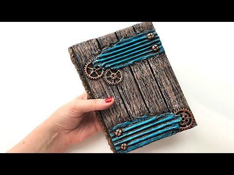 DIY cardboard notebook | wood imitation | STEAMPUNK