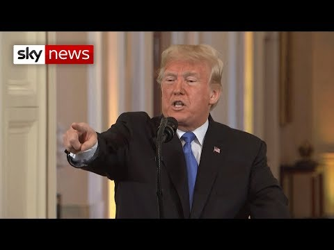Angry Donald Trump clashes with CNN reporters at news confer