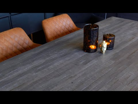 Industriële eetkamertafel Dex acacia hout grijs