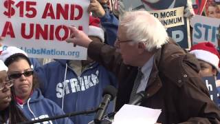 Senator Bernie Sanders spoke at rally of striking federal contract workers.
