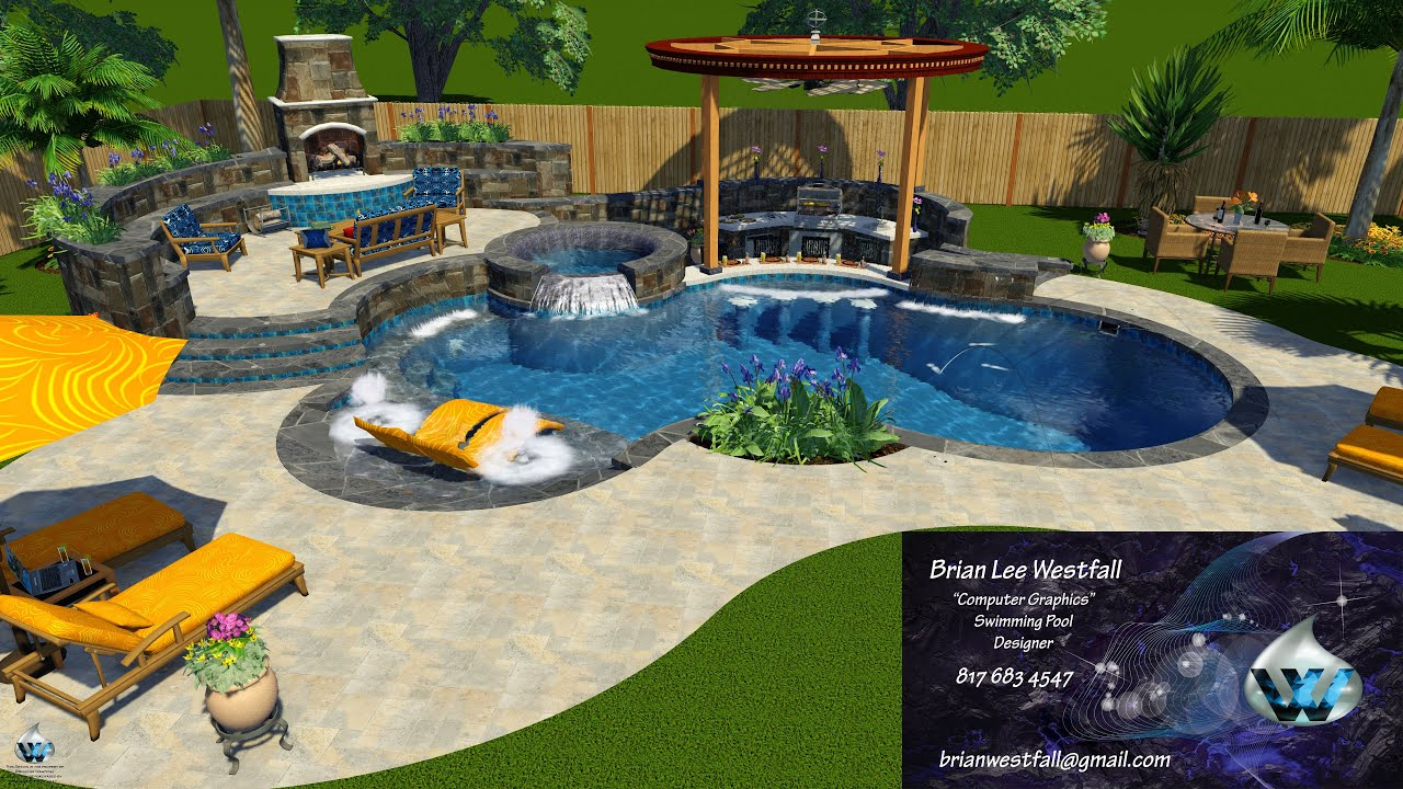 Swimming pool 3d design kitchen and outdoor living youtube for 3d pool design online