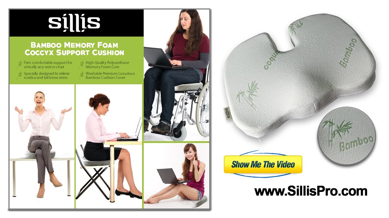 Sillis Bamboo Memory Foam Orthopedic Seat Cushion