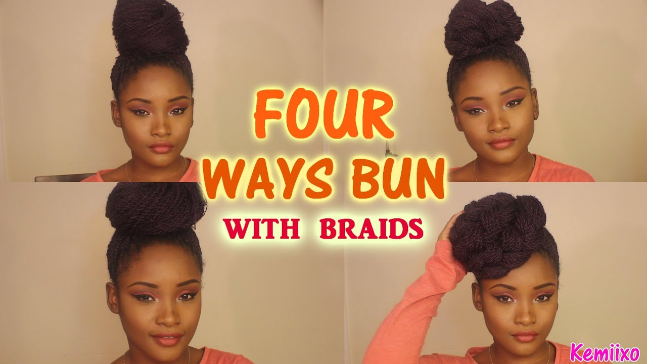 WAYS HAIR BUN STYLES with senegalese/rope twists braids Kemiixo ...