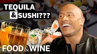 "Dwayne ""The Rock"" Johnson Taste Tests Tequila with 3 Meals | Bottle Service | Food & Wine"
