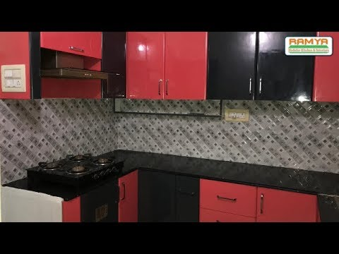 Black & Red High Gloss Finish for Ramya Modular Kitchen