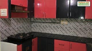 Black & Red High Gloss Finish for Ramya Modular Kitchen