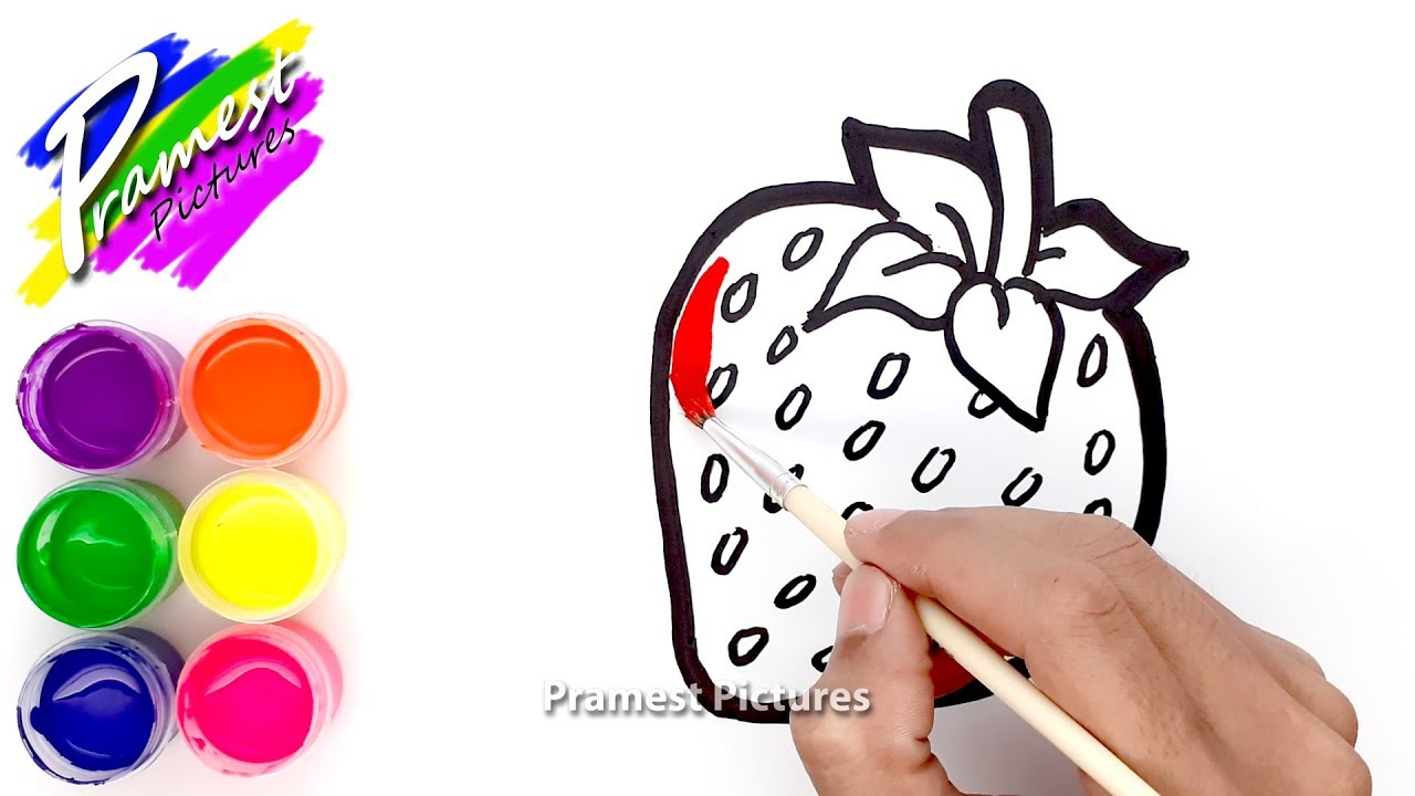 How To Draw Strawberry Coloring Pages 🎨 Painting And Drawing For Kids