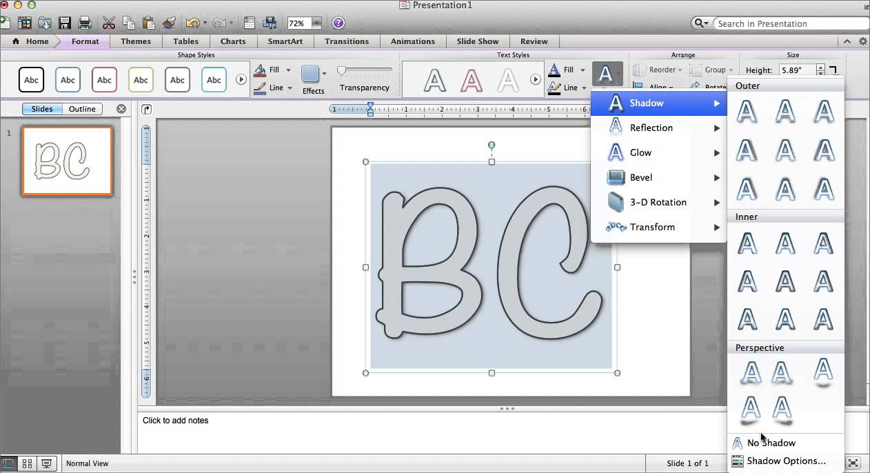 Filling Word Art and Shapes on PowerPoint for Mac - YouTube