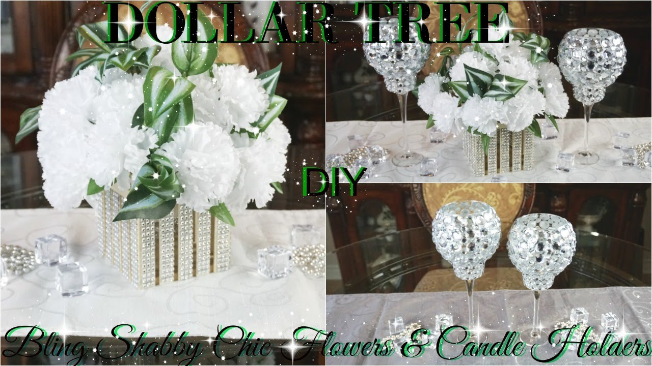DIY DOLLAR TREE BLING SHABBY CHIC FLOWERS AND CANDLE