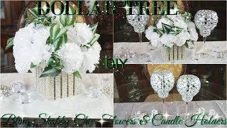 DIY DOLLAR TREE BLING SHABBY CHIC FLOWERS AND CANDLE HOLDERS PETALISBLESS 🌹