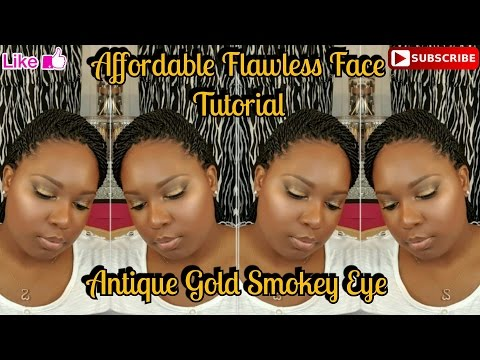 Antique Gold Smokey Eye | Affordable Flawless Face |Glowing Skin| Dania Lanese