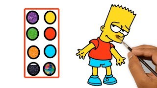 Bart Simpson Coloring Pages for Kids - Cartoon Drawing for Children