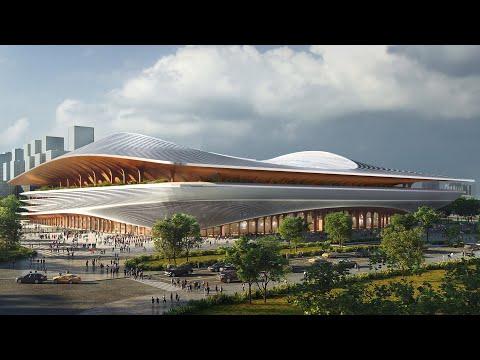 "Zaha Hadid Architects unveils Chinese football stadium with ""garden terraces"""