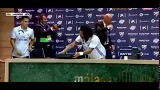 فيديو| لاعبو ريال مدريد يقتحمون مؤتمر زيدان ويجبروه على الرقص معهم