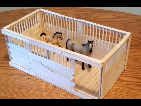 how to make a schleich stall with sliding door and wood. Black Bedroom Furniture Sets. Home Design Ideas