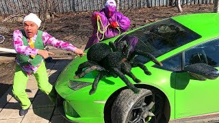 Spider ATTACKED Mr. Joe on Lamborghini Huracan & Purple Fat Man on Nissan Cedric for Kids