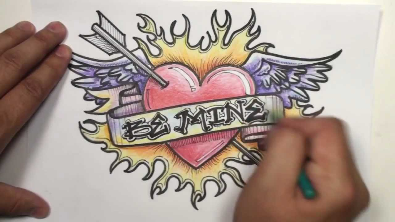 Speed Drawing: How To Draw a Heart With Wings, Arrow ...