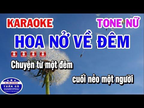 Karaoke Hoa Nở Về Đêm | Nhạc Sống Beat Nữ Dễ Hát | Karaoke Tuấn Cò