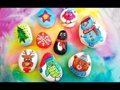DIY Christmas Rocks Painting Craft Ideas - Stone Art For Winter Home Decor