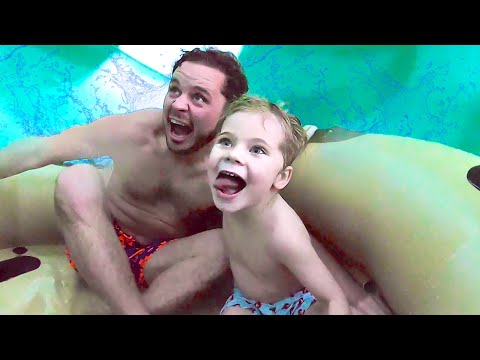 Trapped In GIANT WATERSLIDE at World's Largest Indoor Waterpark! (HIS FIRST TIME!)