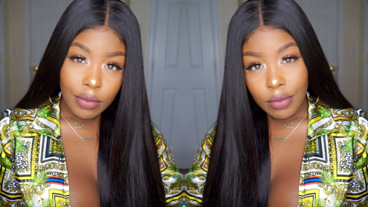 Sleek, Straight, Middle Part, Long Bundles And Closure Ft