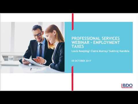 BDO Professional Services Tax Webinar Series - Employment Tax Update