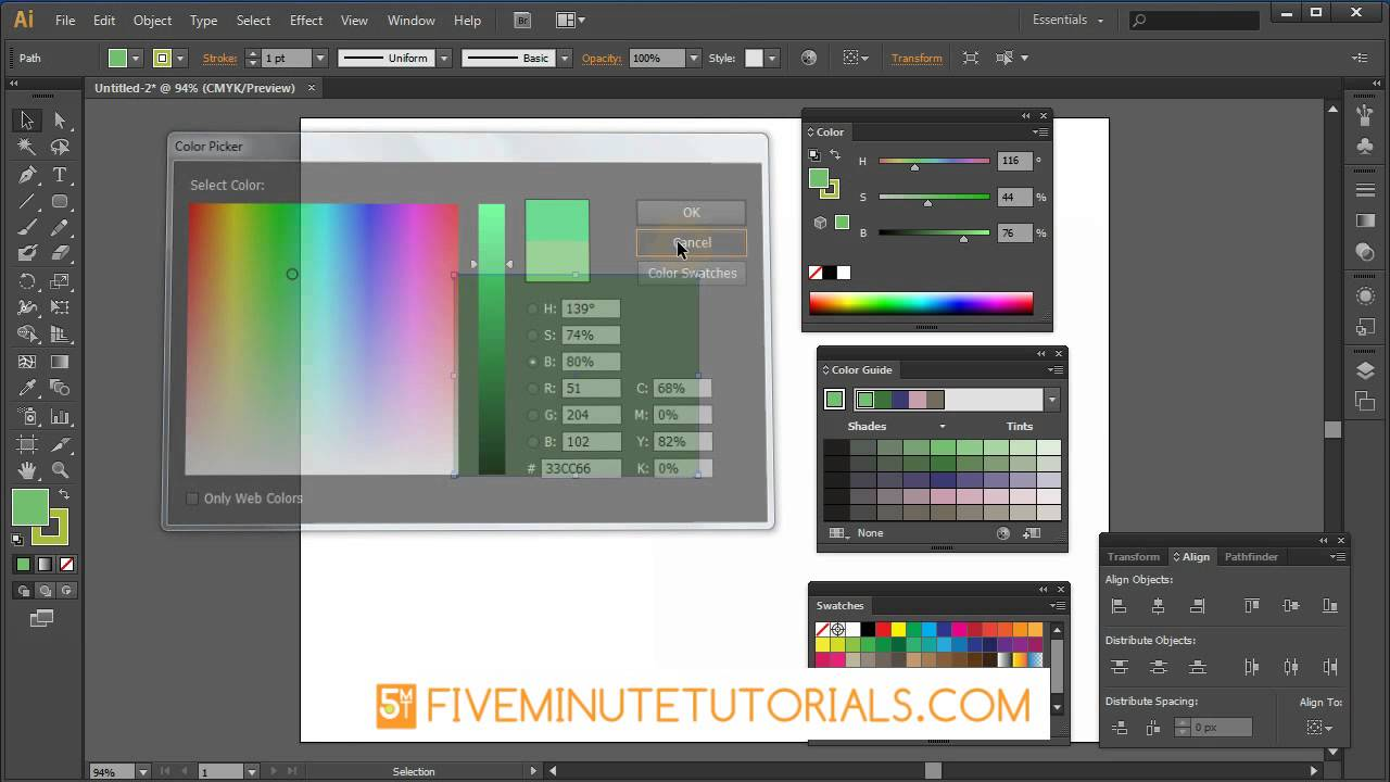 Adobe Illustrator Color Picker and color Palette Tutorial - YouTube