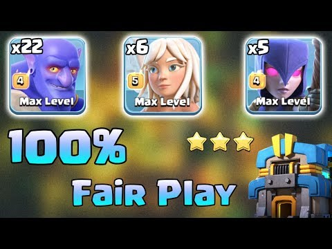 New TH12 Strategy 2019! 22 Bowler + 5 Witch + 6 Healer Queen Walk 3Star TH12 War Clash of Clans