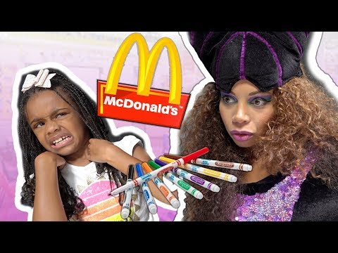 Toy School 3 Marker Challenge! McDonald's Food with Toy Teacher Maleficent