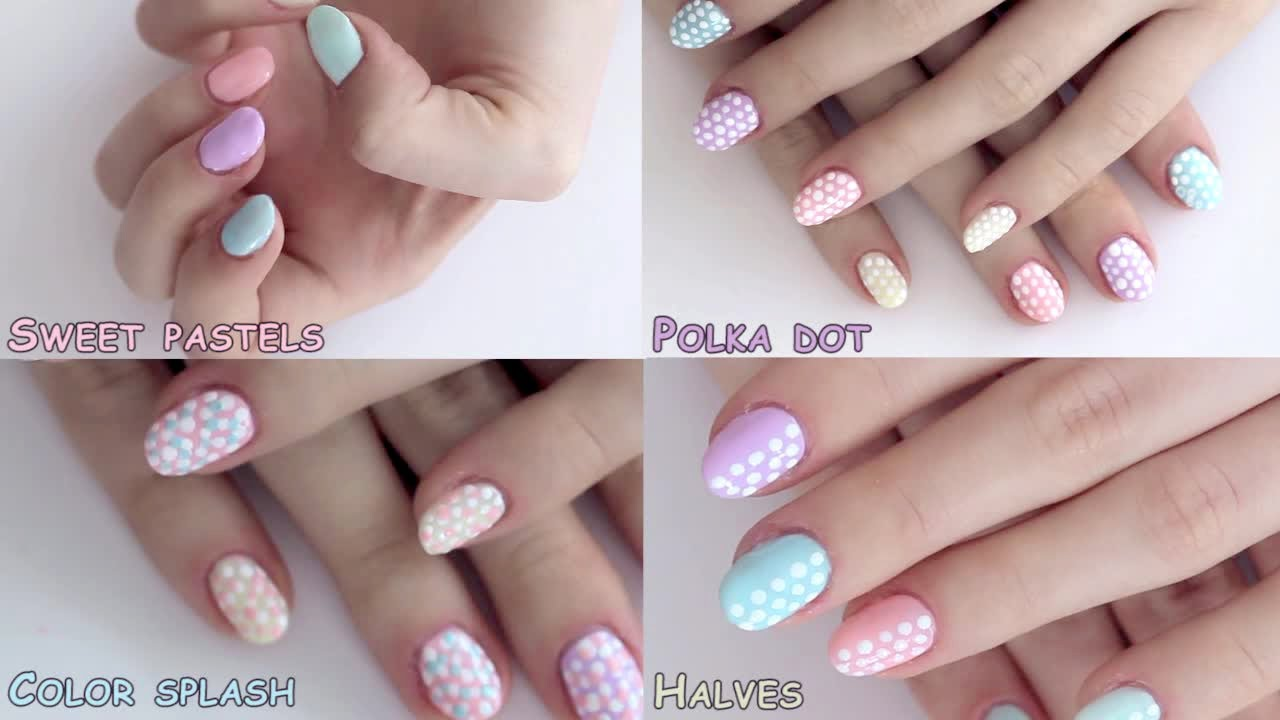summer nail art designs tutorial: polka dot pastels - youtube