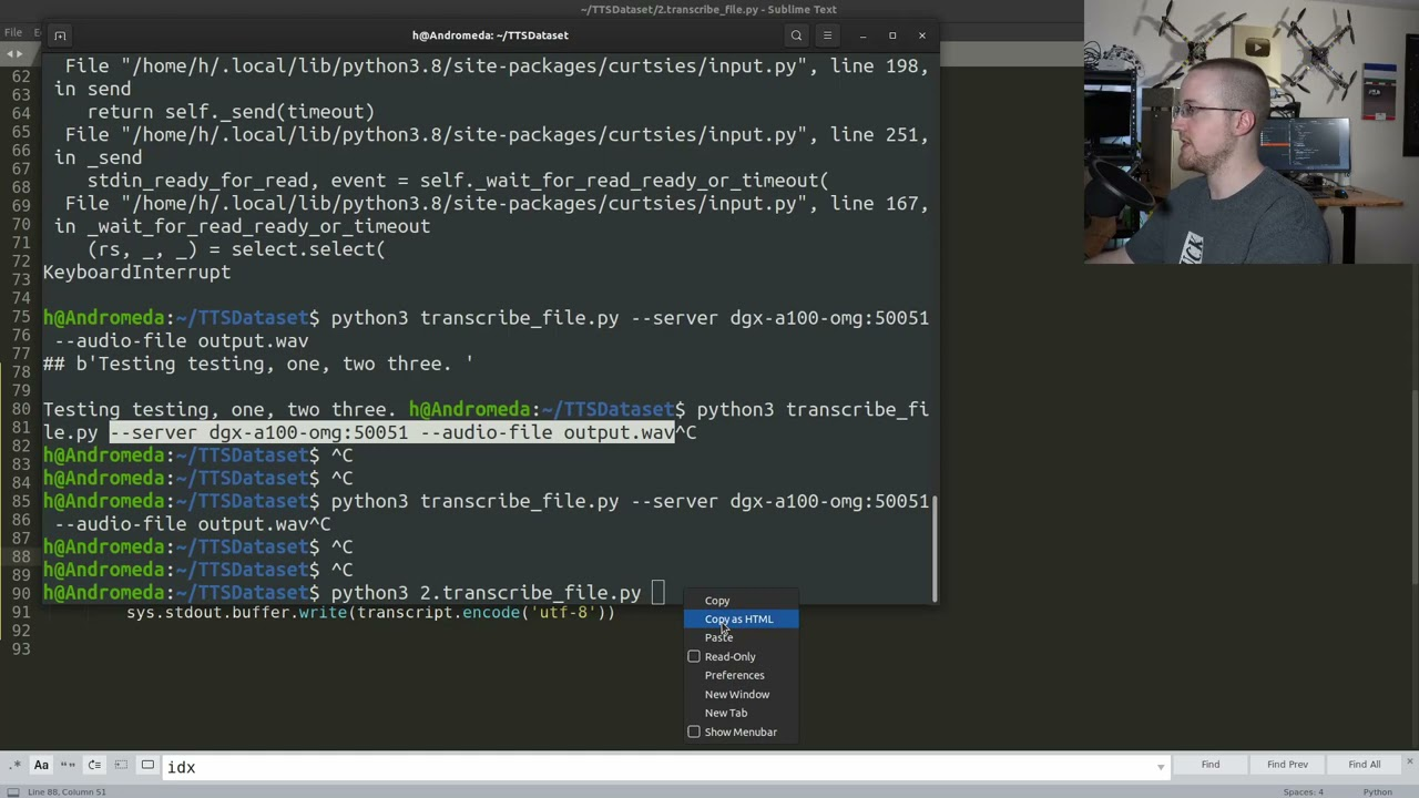 Live coding Jarvis Transcriptions for Speech to Text Dataset p.2