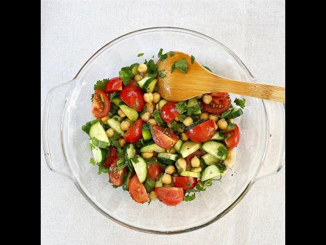 Summer Salads! Cucumber, Chickpea & Cilantro Salad
