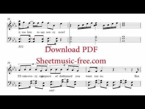 Sorry Sheet Music Justin Bieber Piano Sheet music Free PDF Download