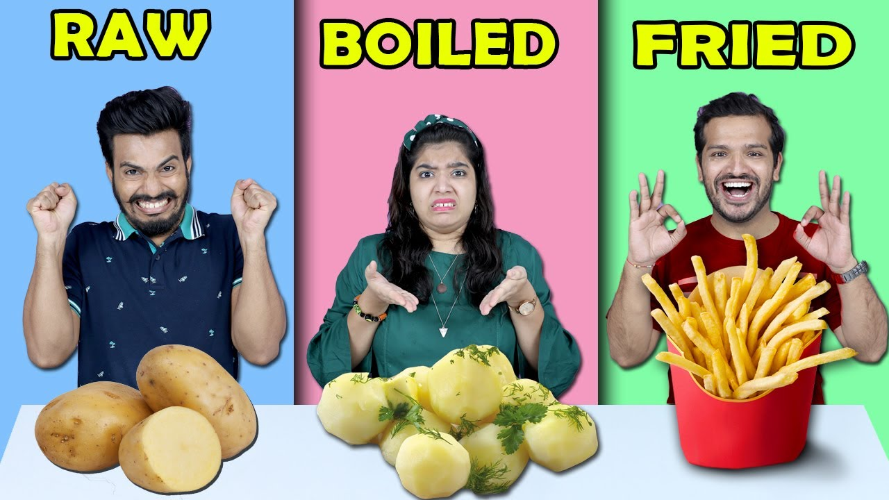 Raw Vs Boiled Vs Fried Food Challenge | Food Challenge (Hungry Birds)
