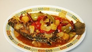 Fried Whole Fish in Spicy Sweet and Sour Sauce: Authentic Chinese Cooking.