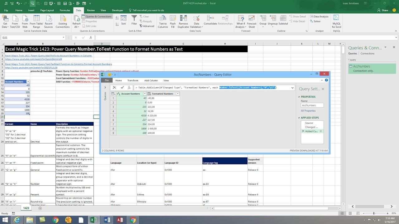Excel Magic Trick 1423: Power Query Number ToText Function to Format  Numbers as Text