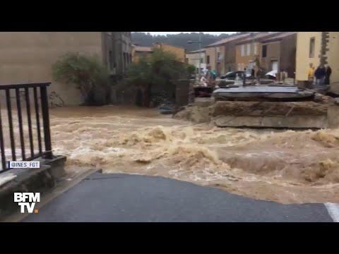 Inondations dans l'Aude : ce pont a été emporté par la force du courant