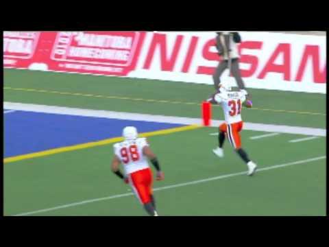 Dante Marsh interception return for a touchdown - October 18, 2009 in Winnipeg