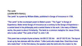The Lamb By William Blake Full explanation and notes, summary must watch