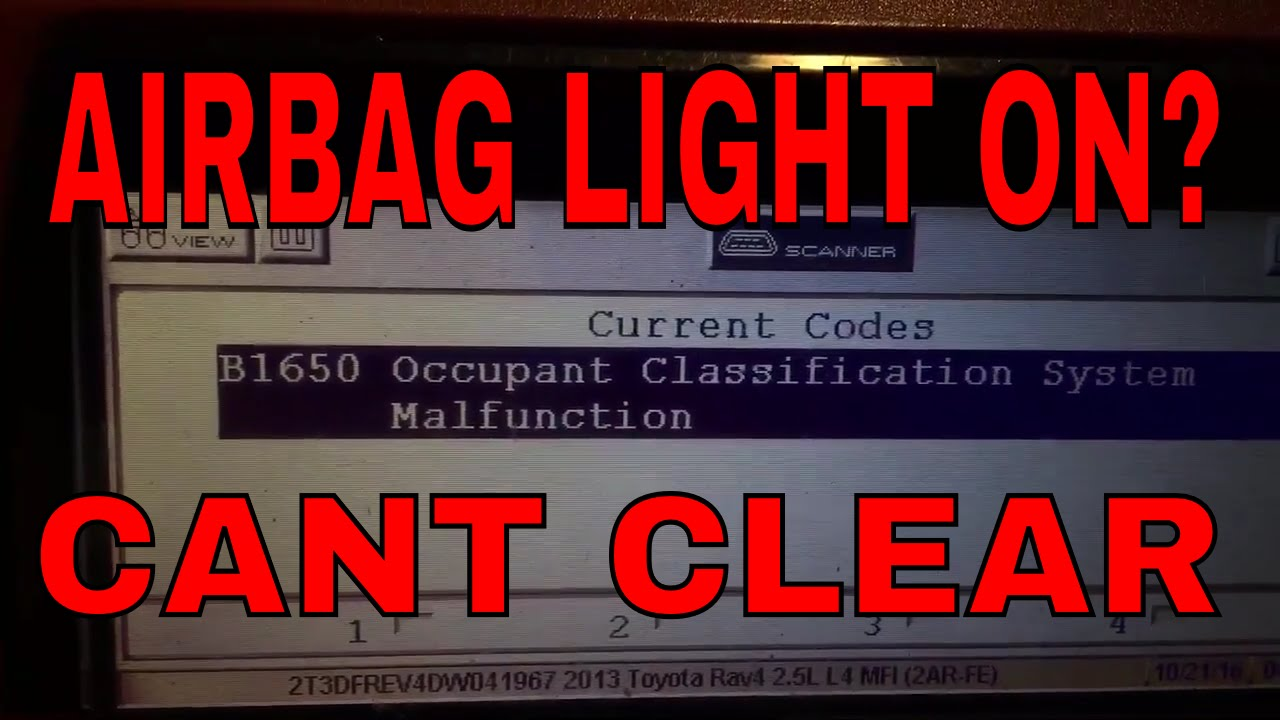 Toyota airbag B1650 Occupant Classification how to reset program