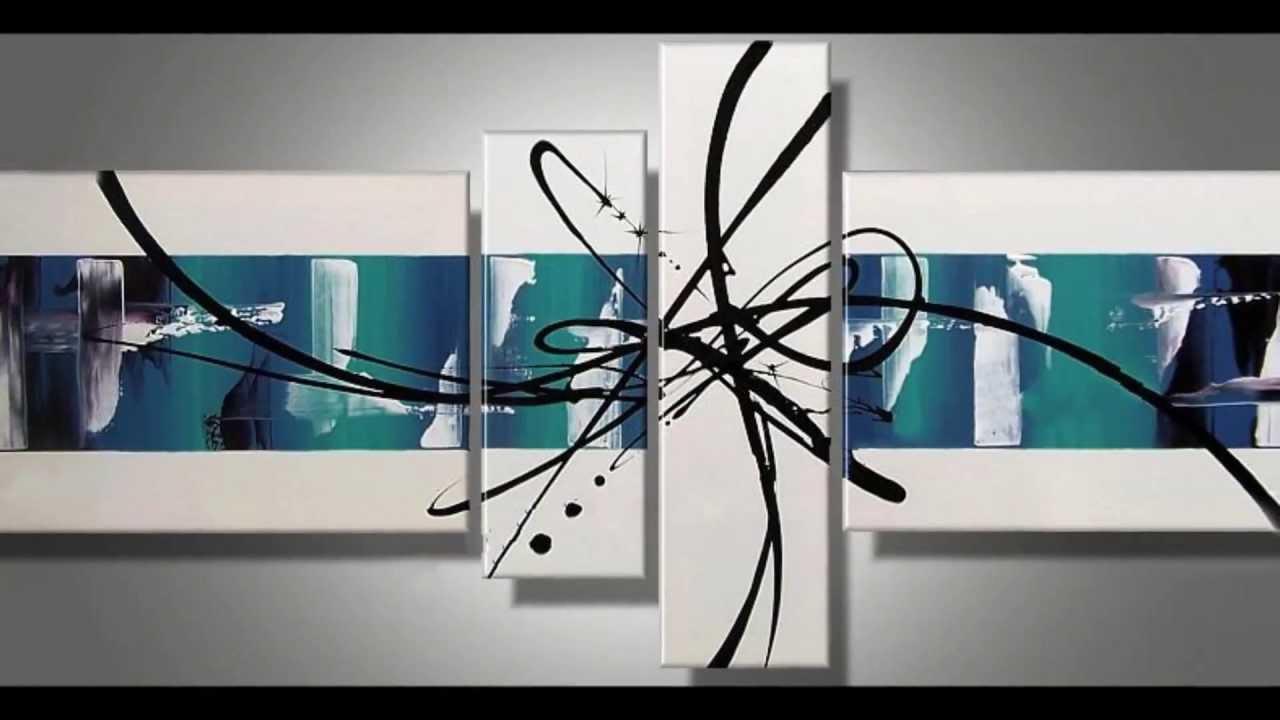 Cuadros abstractos pintados a mano matblank youtube for Lienzos para salon modernos