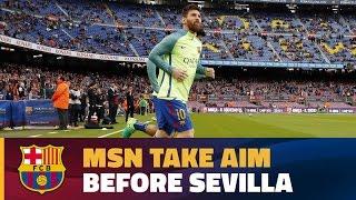 Messi, Neymar Jr & Suárez show skills in pre-Sevilla warm up