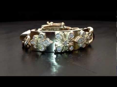 Tawdry Fleur E.C. Heavy Bracelet 18K Yellow Gold Pave Diamonds