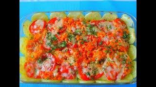 Рыба запеченная с овощами, очень вкусная.