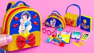 DIY Miniature Snow White School Supplies ~ Backpack, Glitter Pen, Pencil Case