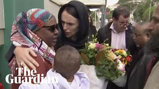 Jacinda Ardern lays wreath and meets families of Christchurch shooting victims