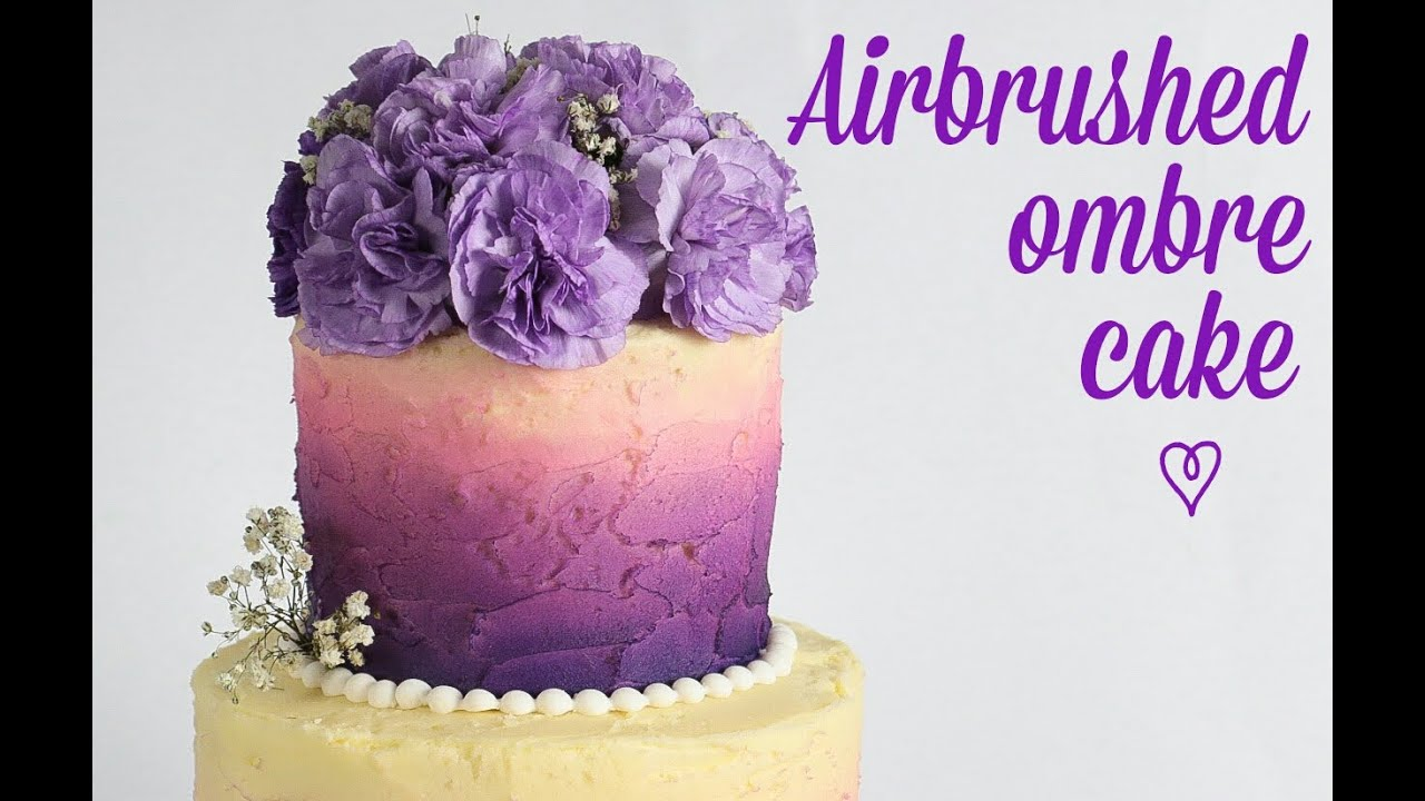 Two Tier Airbrushed Ombre Cake Tutorial Rosie S Dessert