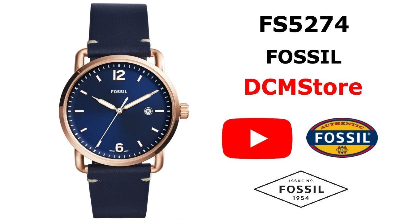 352531d72964 FS5274 Fossil Commuter Blue Navy Dial and Leather ...... DCMStore ...