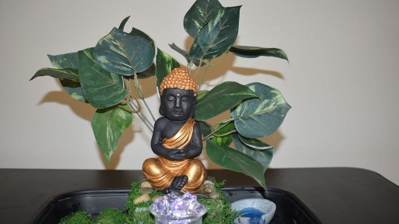 Calm And Soothing Zen Garden Small Budget Home Decor Ideas Diy Dollar Tree Buddha Garden Decor Youtube