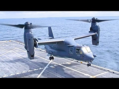 V-22 Osprey Helicopter Plane Flying Landing Take Off VTOL In Flight Commercial CARJAM TV HD 2015